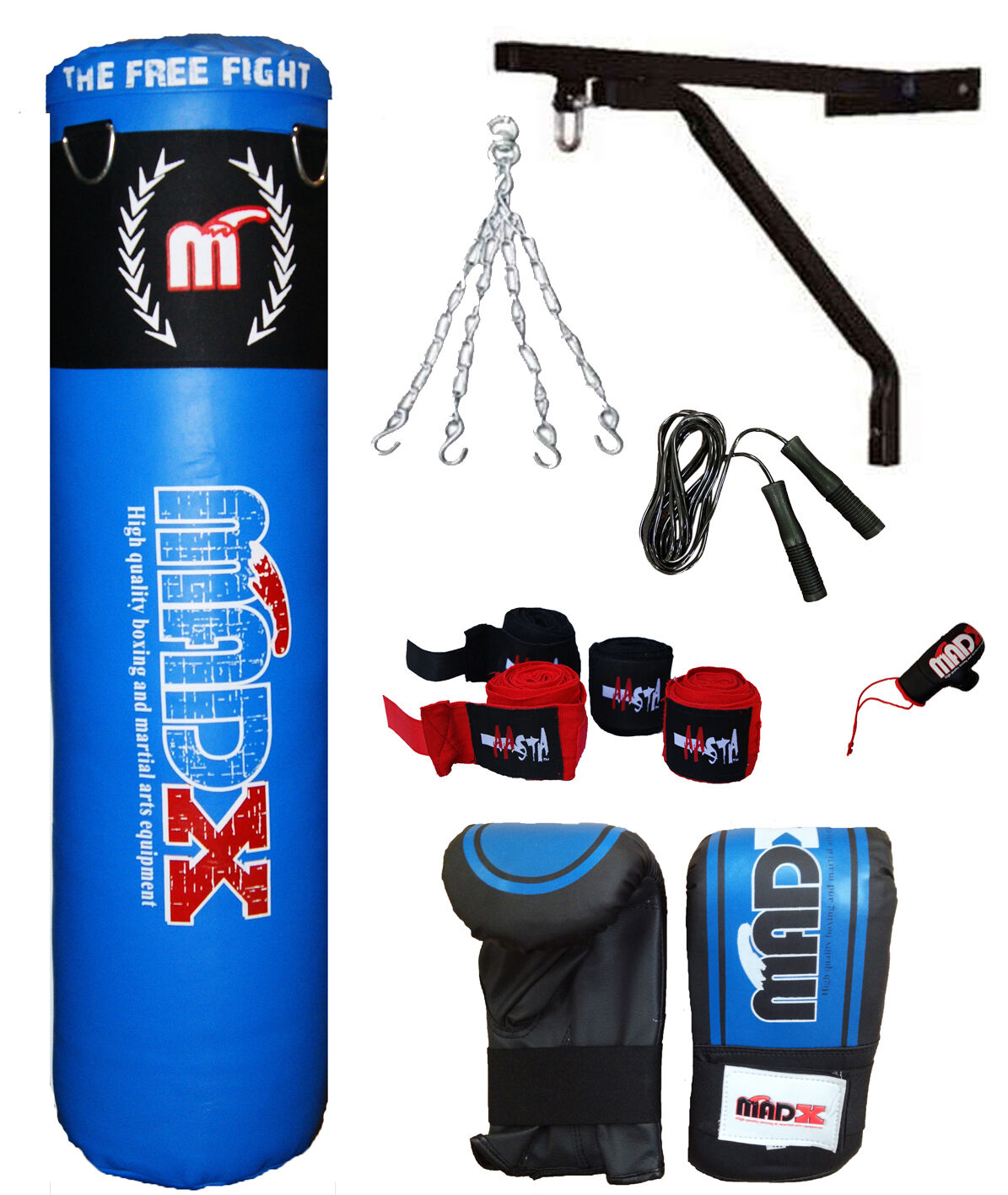 3-5Ft Filled Heavy Punch Bag Custom Build Set,Chains,Bracket,Gloves,MMA kick bag