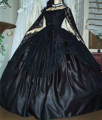 Schwarze Fee Kleid (WGT Gothic Larp Fee Corsage Kleid Ballkleid Brautkleid Gr.36/38/40/42 schwarz   )