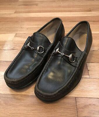 Gucci Mens Shoes Dark Brown Leather Horsebit Loafers UK 8 US 8.5 Vintage
