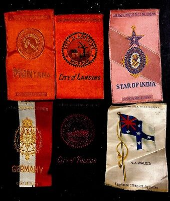 5ct 1910s (India Germany Montana Lansing) Tobacco Silk Egyptienne Luxury Flags