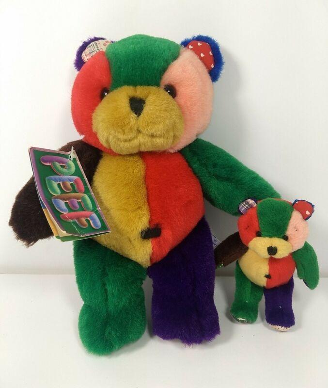"Lot Of 1996 Peef Christmas Teddy Bear Plush With Squeaker Mini miniature 4"" 8.5"""