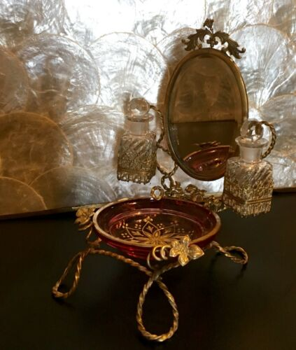 FRENCH PALAIS ROYAL ORMOLU CRANBERRY GLASS ENAMEL TRAY SCENT BOTTLES ON STAND