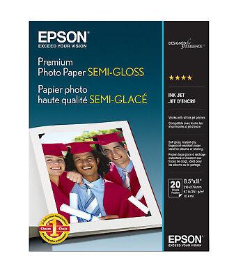 - Epson Premium 8.5x11 Semi-gloss Photo Paper - 20 Sheets