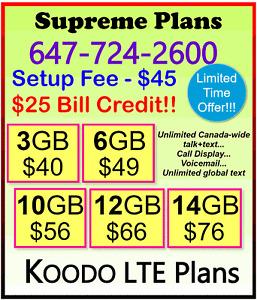KOODO LTE Data Plan - 6gb $49, 10gb $56, 14gb $76 + $25 BONUS!!