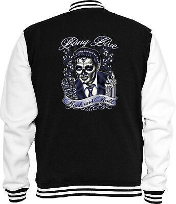 Elvis Jacke (Rockabilly Sweat College Jacke Elvis Rock N Roll Vintage Skull Tattoo)