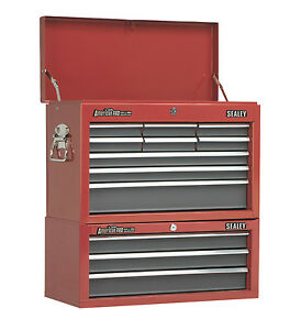 Sealey-Red-12-Drawer-Top-Chest-Tool-Box-Storage-Add-On-Middle-Ball-Bearing-Slide