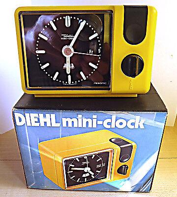 NOS OVP Vintage 70er Diehl mini-clock resonic gelb Wecker Germany TOP*****