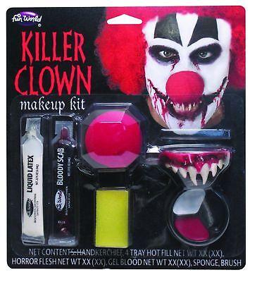 Killer Clown Make up Kit Horror Teeth - Red Nose - Latex - Blood IT Halloween ](It Halloween Makeup)