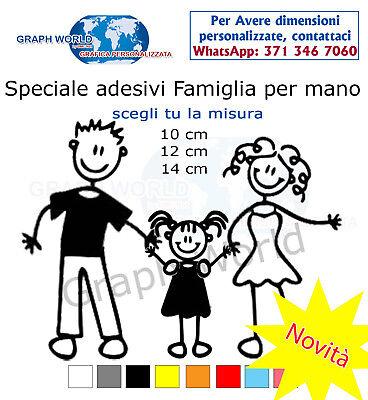 3 adesivi stickers adesivo famiglia a bordo vetri auto nome bambini per mano