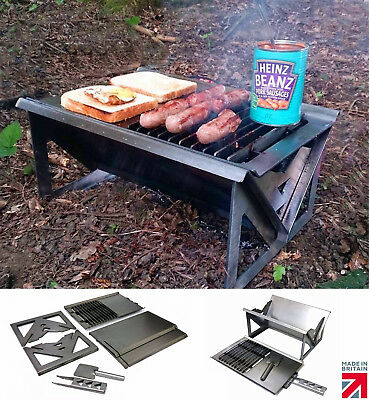 Volcann Portable Flatpack Fire Pit Grill Charcoal / Wood BBQ + Cooktop - Not Gas