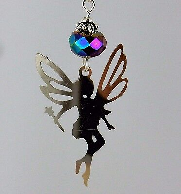 Stainless Steel Tinkerbell fairy earrings with irridescent crystals