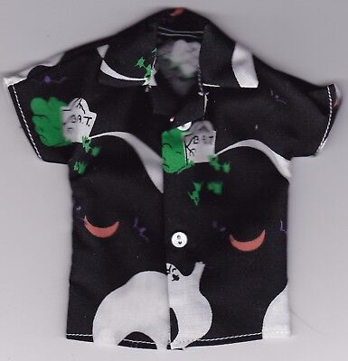 Homemade Doll Clothes-HALLOWEEN Graveyard Ghosts Print Shirt fits Ken Doll H1](Homemade Halloween Ghosts)