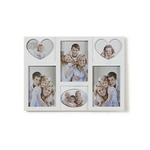 Holds 6 3D Multi Image Aperture Photo Collage Picture Black White Frame 5