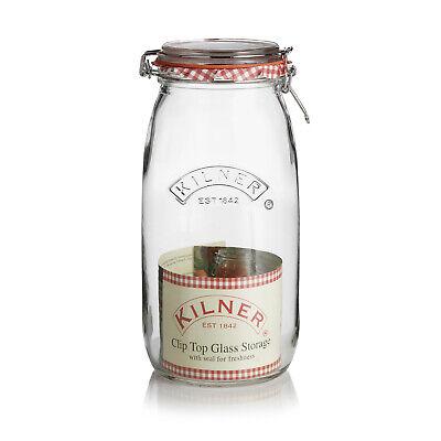 Kilner Cliptop Round 2 Litre Glass Storage Jar - For Jam Sweets Pickle Chutney