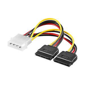 S-ATA Y-Stromkabel 2x 4pin Stecker an 15pin Buchse Molex SATA Strom Adapter