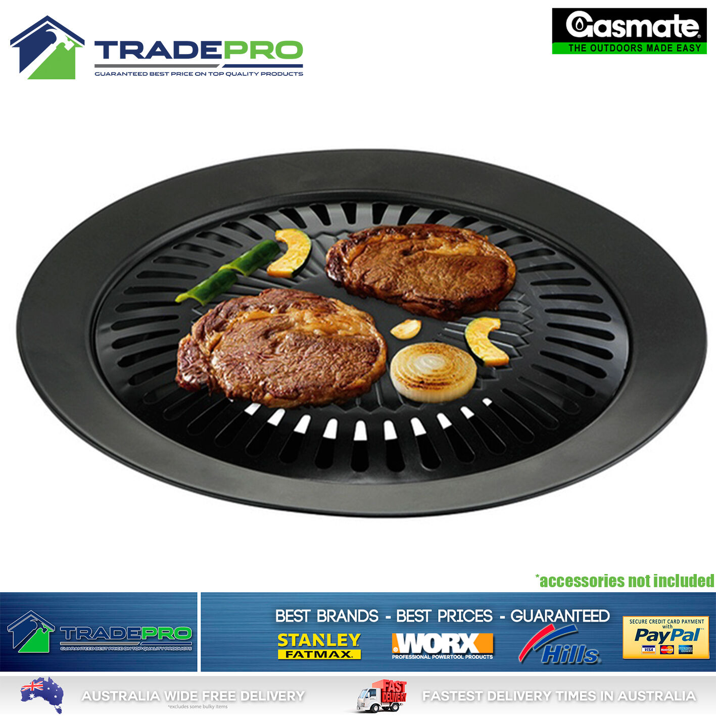 Butane Stove Gasmate Gas Grill Griddle Pan BBQ Porcelain Plate Kit
