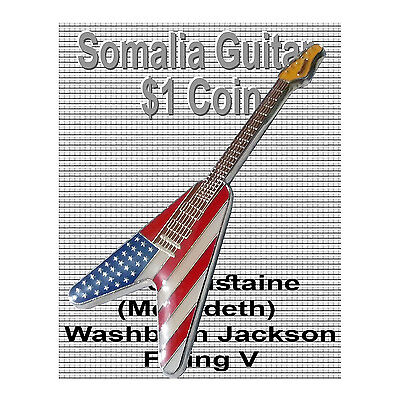Dave Mustaine 2004 $1 Somalia Coin Washburn Jackson Flying V Megadeth Rock BU for sale  Shipping to Canada