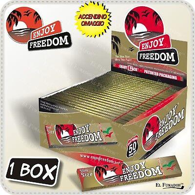 CARTINE ENJOY FREEDOM ORO SLIM LUNGHE BOX 50 LIBRETTI 1600 Fogli King Size Gold