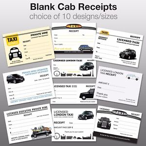 Pack of 25 Assorted Blank Taxi / Minicab Receipts / Tickets✔10 designs✔FREE POST