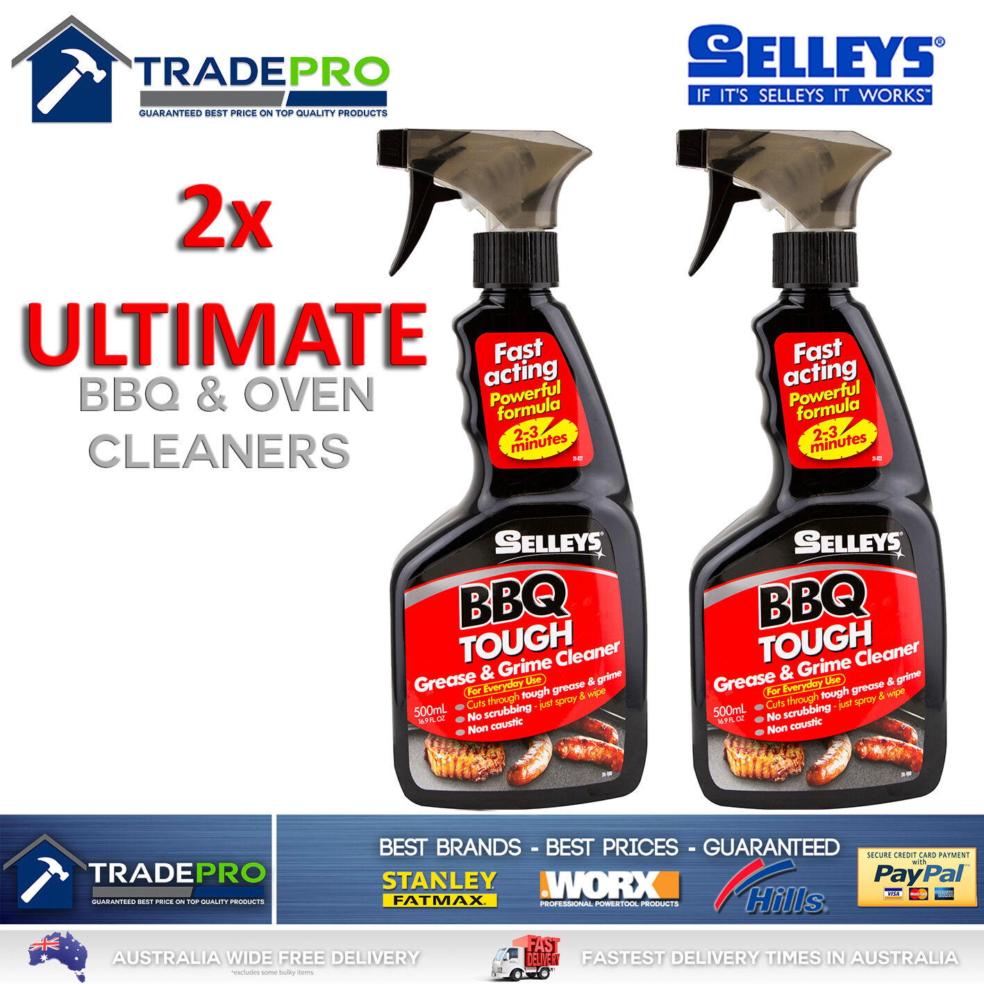 2x BBQ Cleaner Selleys Heavy Duty Tough Grease Grime Grill Safe Oven