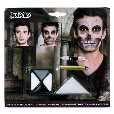 t Skelett Gesichtsfarbe Palette Kostüm Zombie Totenköpfe Neu (Tote Halloween-make-up)