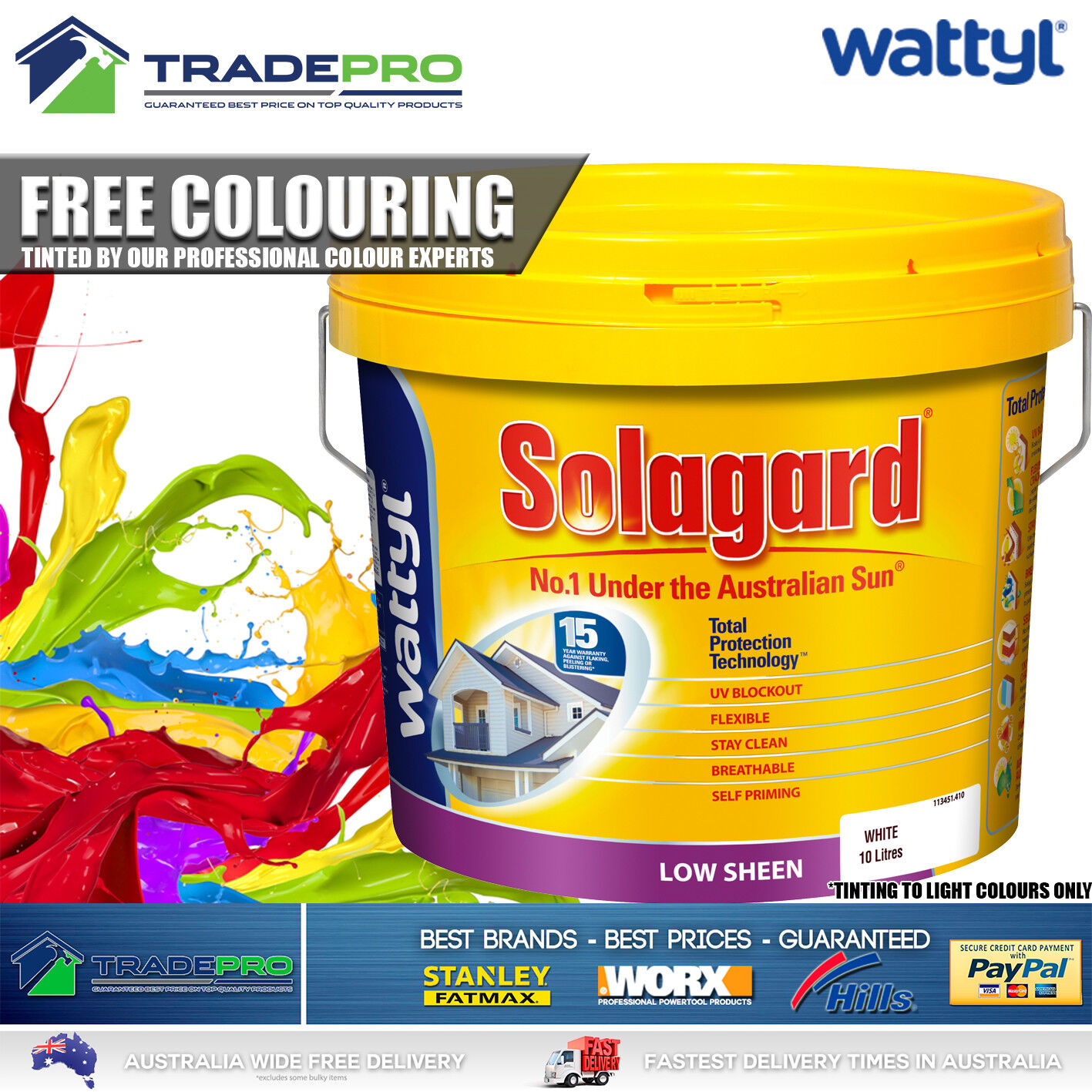 Details About Paint White 10ltr Wattyl Solagard Premium Low Sheen 10l Free Tinting Int Ext