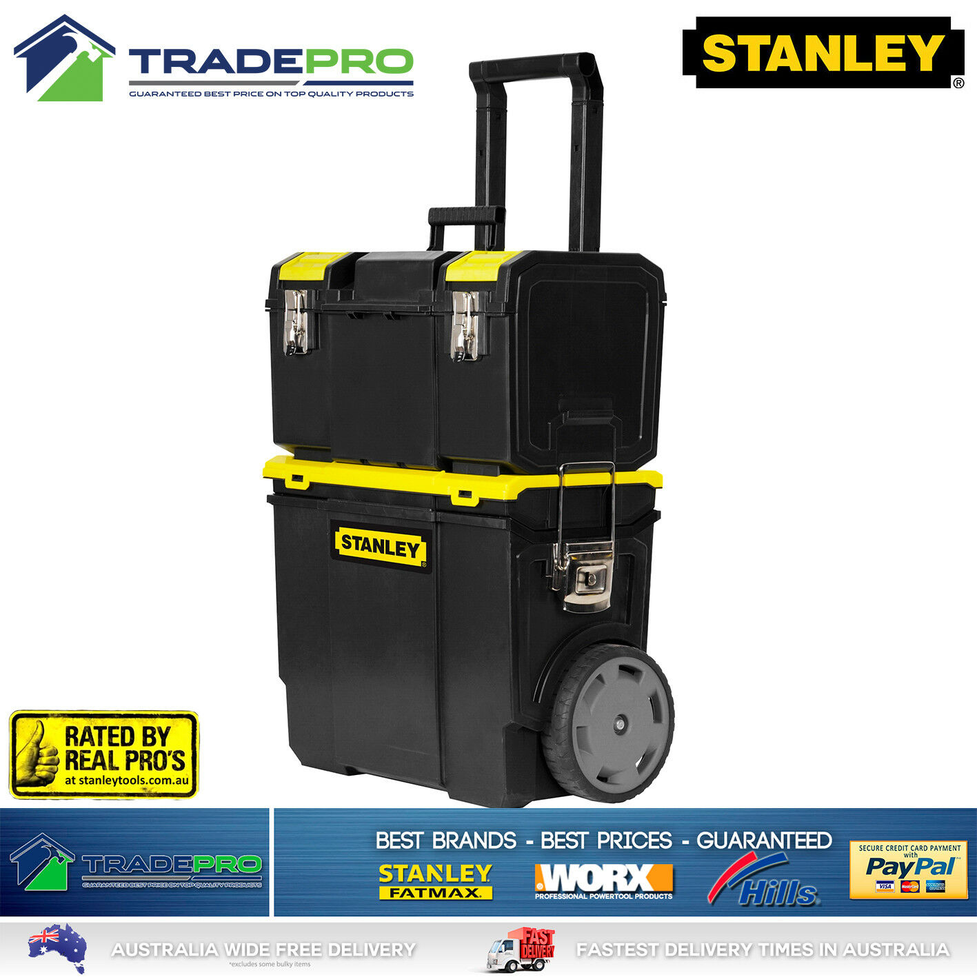 stanley tool chest box 3in1 mobile with wheels large lockable roller storage ebay. Black Bedroom Furniture Sets. Home Design Ideas