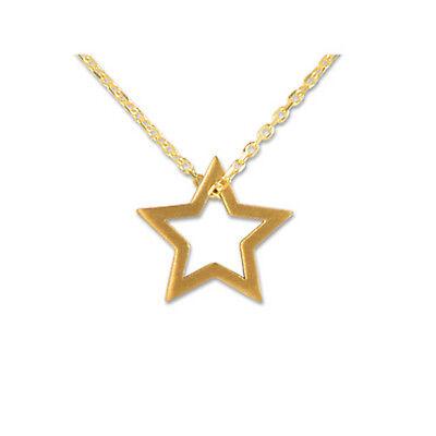 SILBERWERK Kettenanhänger Stern mit Kette 925er Silber vergoldet 12x12mm