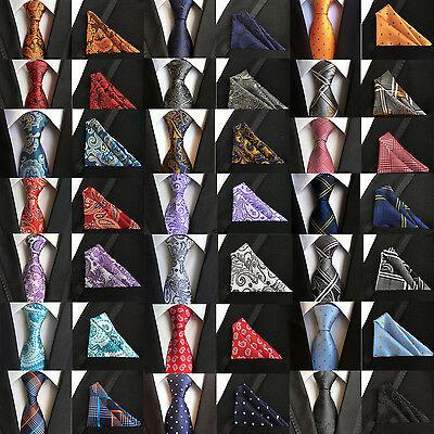 Classic Paisley Floral Silk Hanky Necktie Jacquard Woven Necktie Men's Tie Set