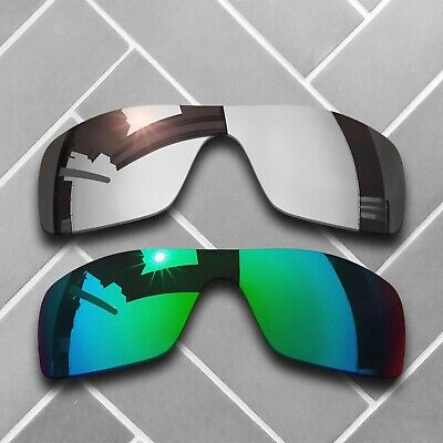 Silver Chrome&Jade Green Mirror Replacement Lenses for-Oakley Batwolf Polarized