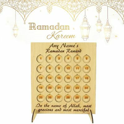 Oak Veneer Personalised 'Ramadan Rewards' Countdown Coin Holder Advent Calendar