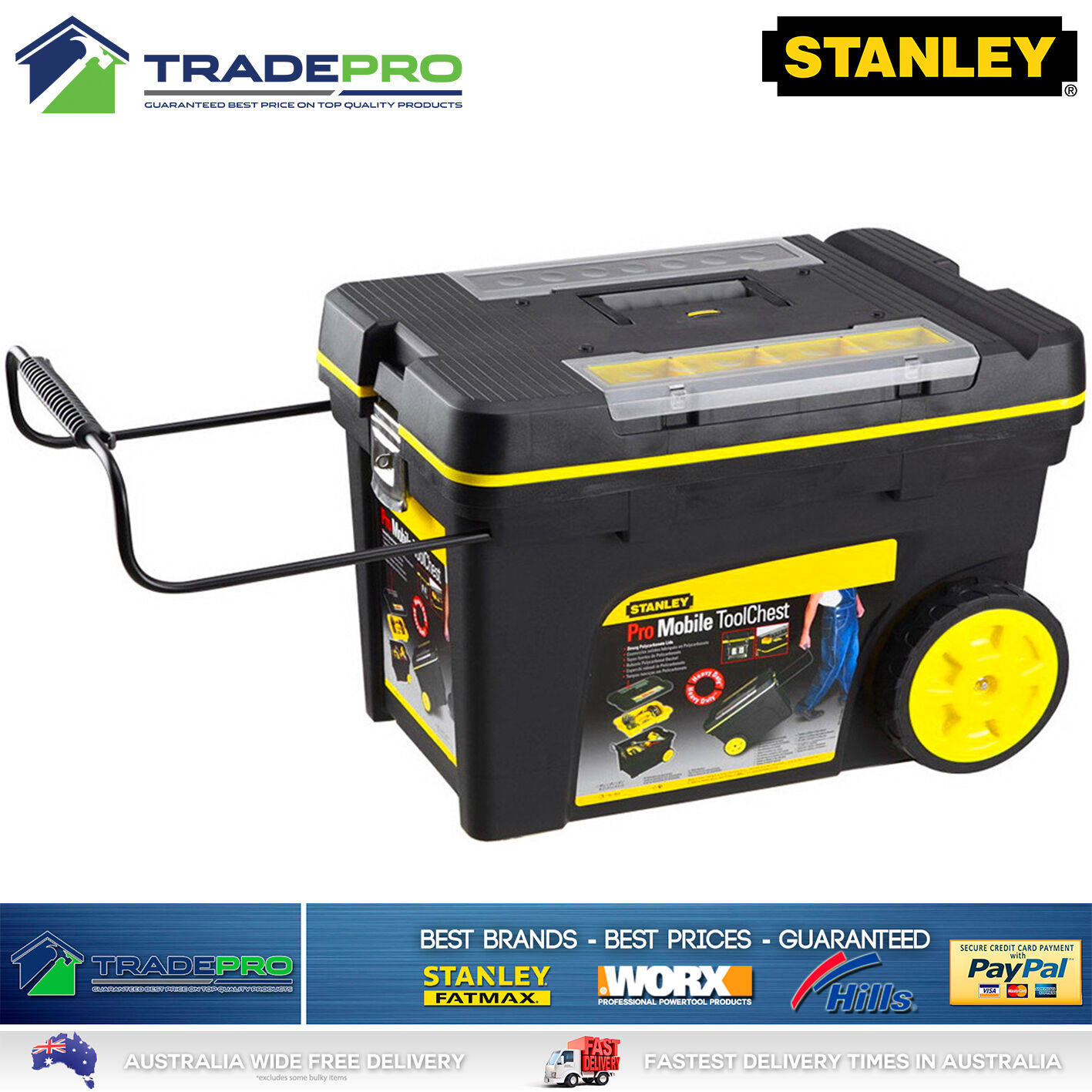 Details about Stanley® Tool Chest Box PRO Mobile with Wheels Large Lockable  Roller Storage