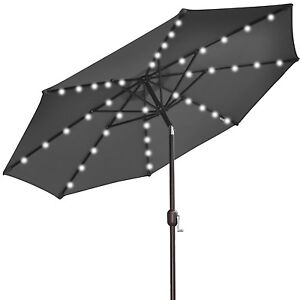 9' NEW SOLAR 40 LED LIGHTS PATIO UMBRELLA GARDEN OUTDOOR SUNSHADE