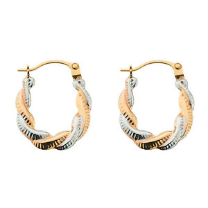 9ct Yellow and White Gold Patterned Hoop Creole Earrings