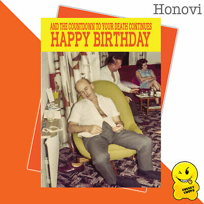 Funny Birthday Card Vintage Classic Adult Humour 1970's - Death beginsHON04
