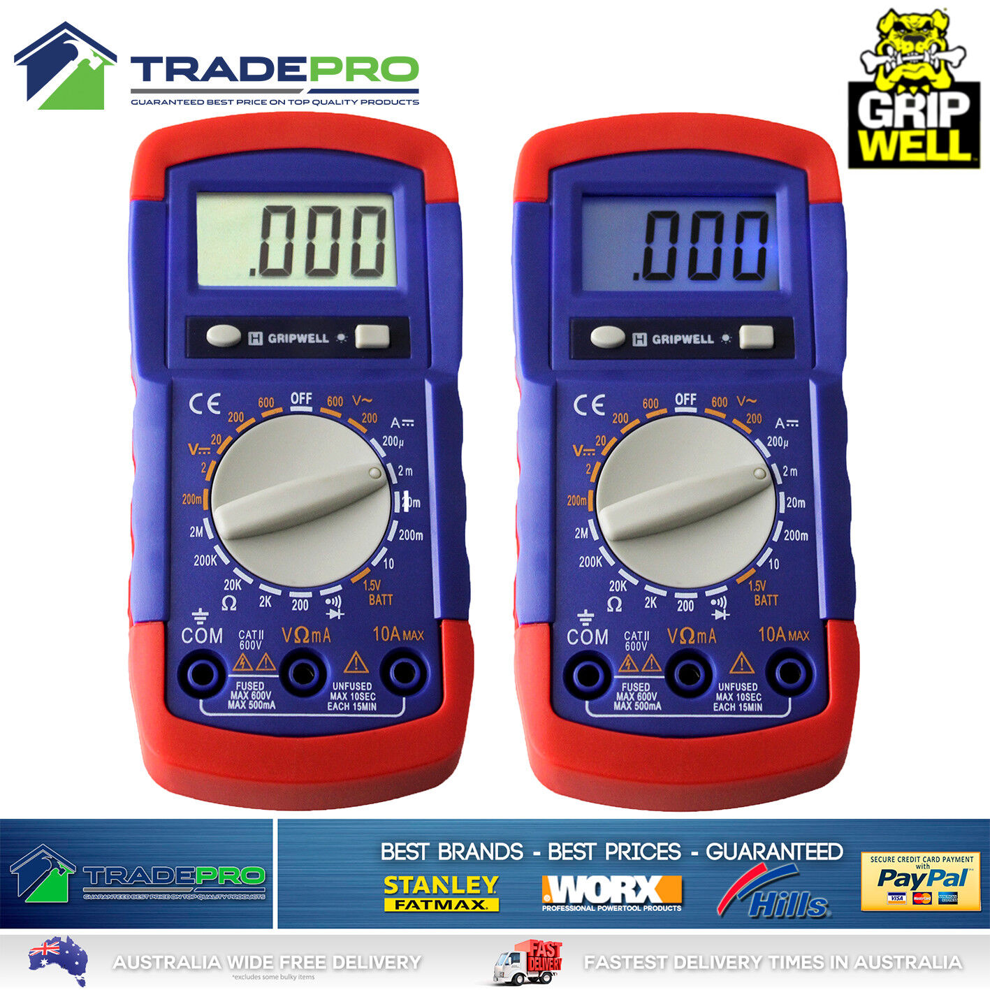 Digital Multimeter LCD Electrical Gripwell Voltmeter Ohm Multi