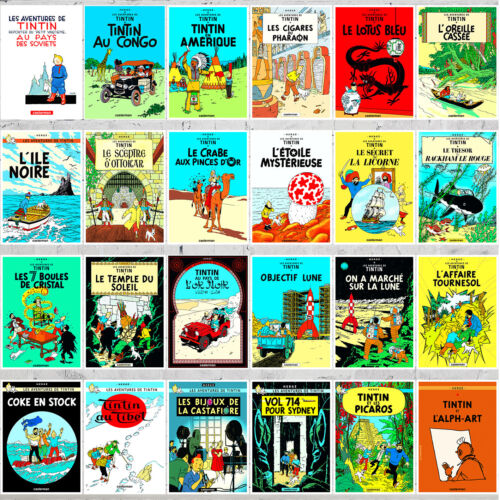TINTIN+ADVENTURES+FRENCH+COVER+STYLE+24+DIFFERENT+RARE+COMIC+POSTERS+LOT