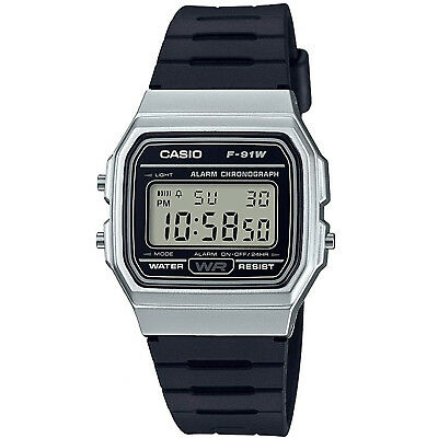 Casio Classic LCD Digital Watch Black and Silver F-91WM-7AEF LCD