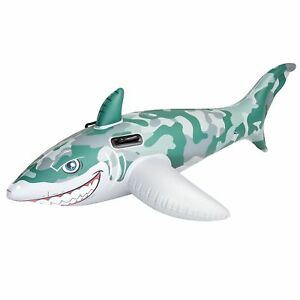 Inflatable Army Shark Swimming Pool Rider Kids Fun Ride on Float 72