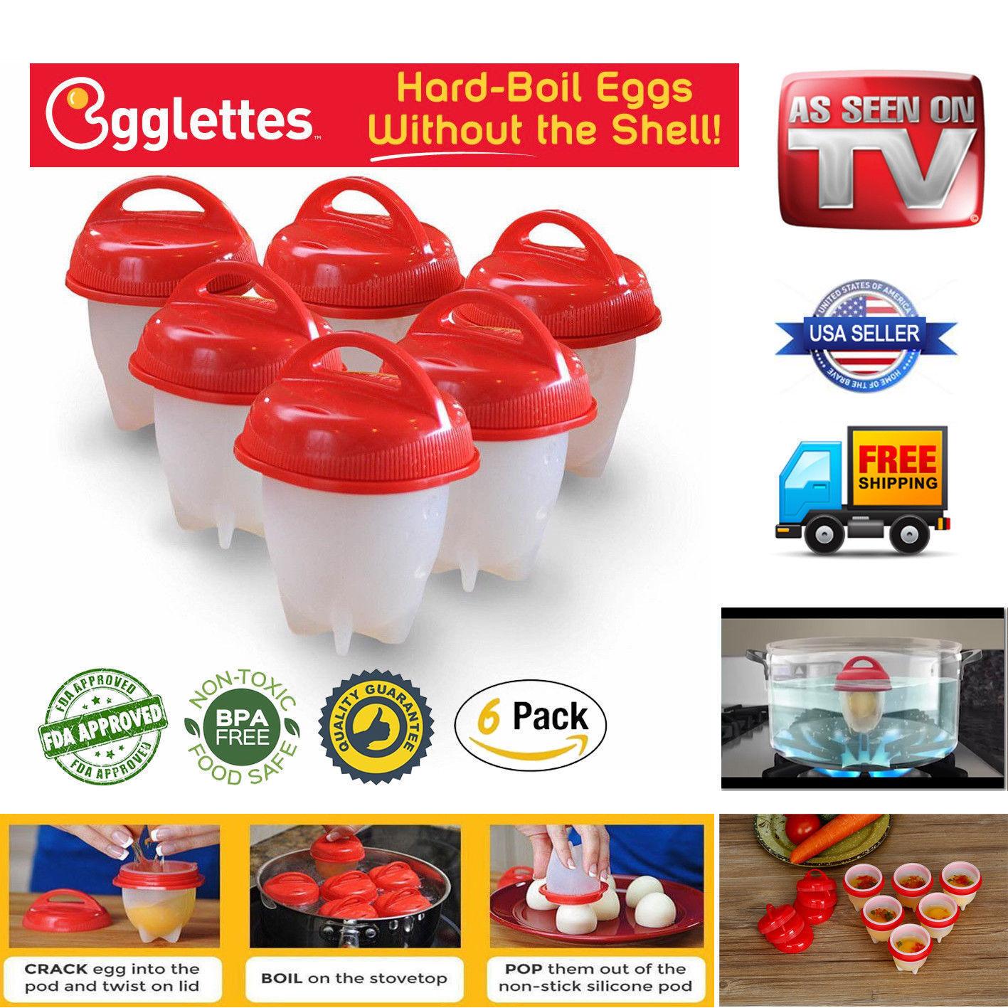 Egglettes Maker 6 Pack Egg Cooker - Hard Boiled Eggs without