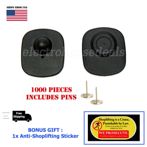 1000 Checkpoint Compatible Store Loss Prevention Sensor Hard Tags w/ pin+ BONUS