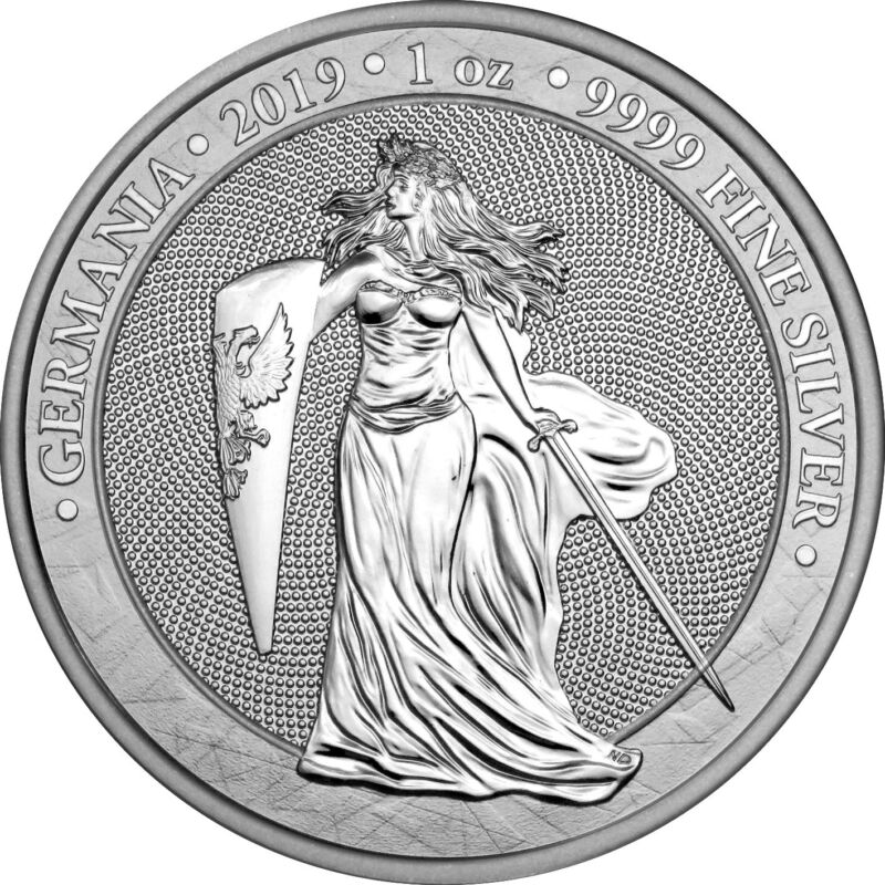 2019 Germania 5 Mark GERMANIA 1 Oz Silver Coin.
