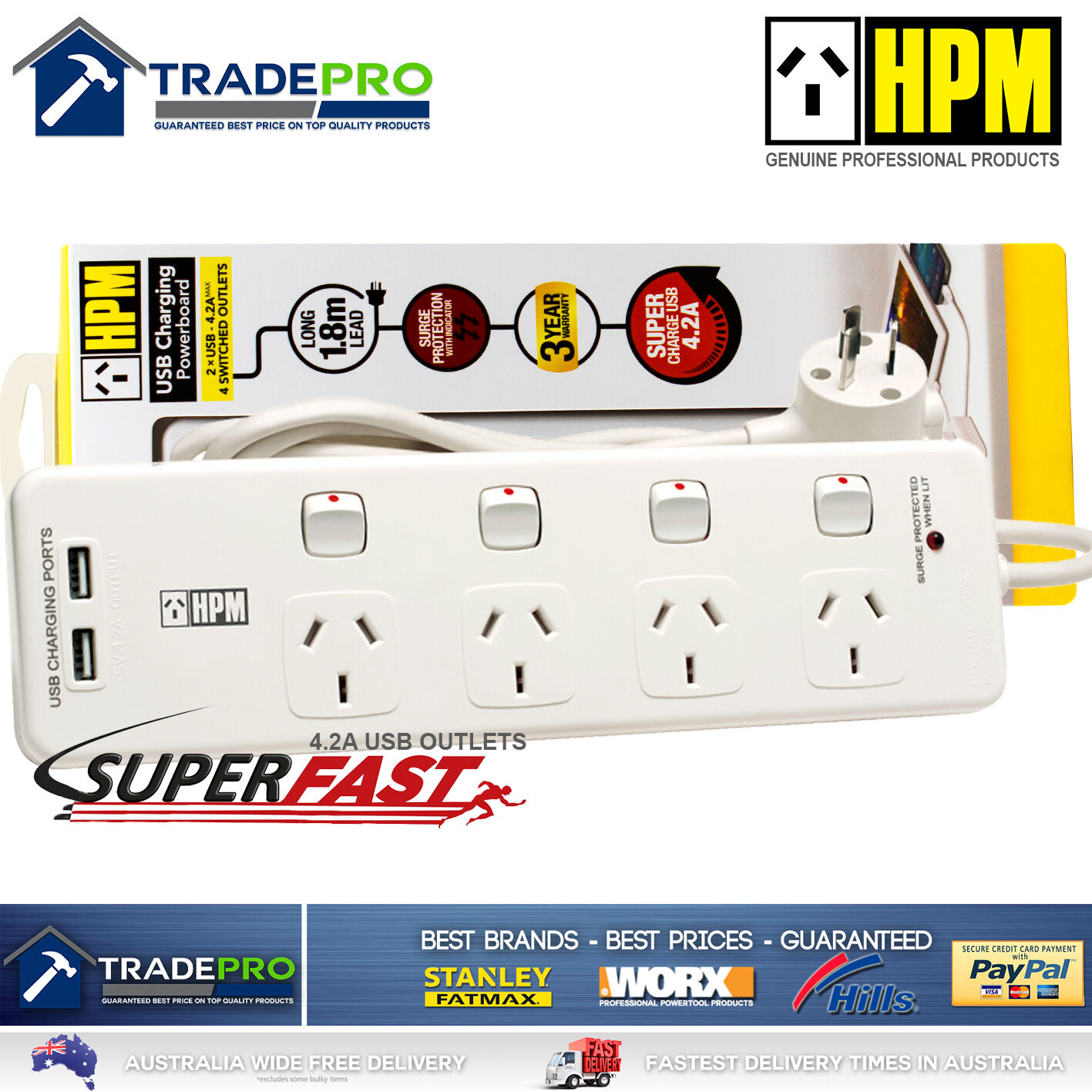 Power Board Surge Protector HPM® Smart Fast USBs & 4 Outlet ...