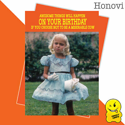 Funny Birthday Card Vintage Classic Adult Humour 1970's -  Miserable cowHON07