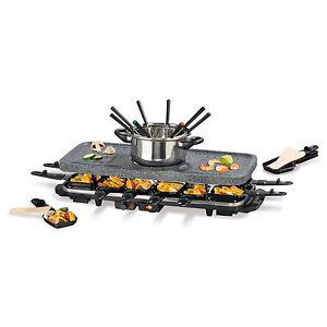 GOURMETmaxx Raclette und Fondue Set GRANITlook 1600W