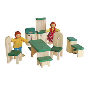 WOODEN-DOLL-HOUSE-FURNITURE-KITCHEN-DINING-X-9-PIECES
