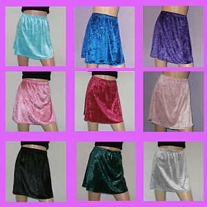 Womens-Crushed-Velvet-A-Line-Mini-Skirt-Size-8-10-Elasticated-Waist-14-Colours