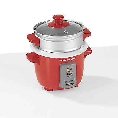 GOURMETmaxx elektrischer Reiskocher Dampfgaraufsatz 400ml 200W Rot Asia Sushi
