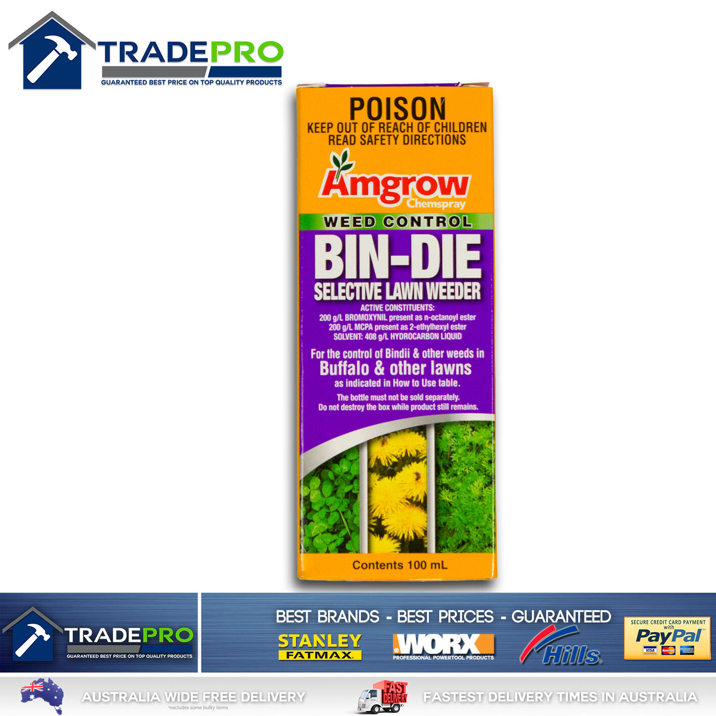 Details about Bin-Die Clover Oxalis Bindi Killer Selective Lawn Weed Kill  100ml Buffalo Safe