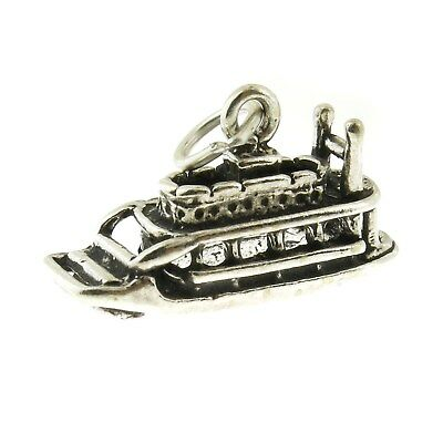 925 Sterling Silver Riverboat Charm Made in USA